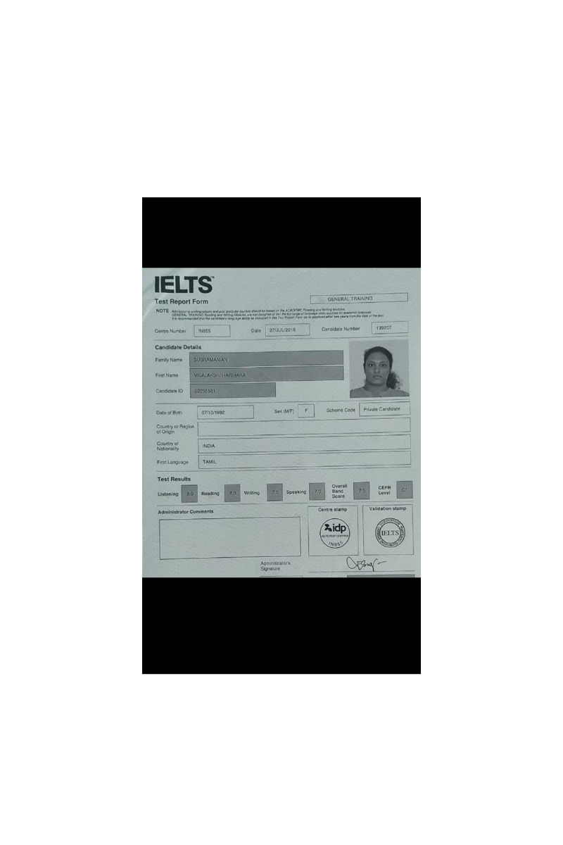 IELTS Online Test Report of Visalakshi